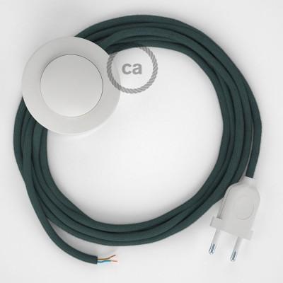 Napájací kábel pre podlahovú lampu, RC30 Kamenno šedý bavlnený 3 m. Vyberte si farbu zástrčky a vypínača.