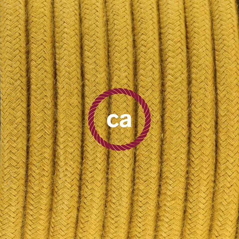 Napájací kábel pre podlahovú lampu, RC31 Medový bavlnený 3 m. Vyberte si farbu zástrčky a vypínača.