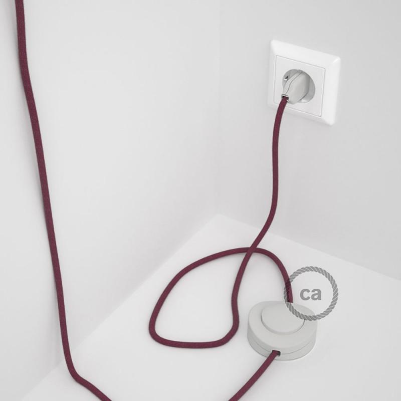 Napájací kábel pre podlahovú lampu, RC32 Bordový bavlnený 3 m. Vyberte si farbu zástrčky a vypínača.