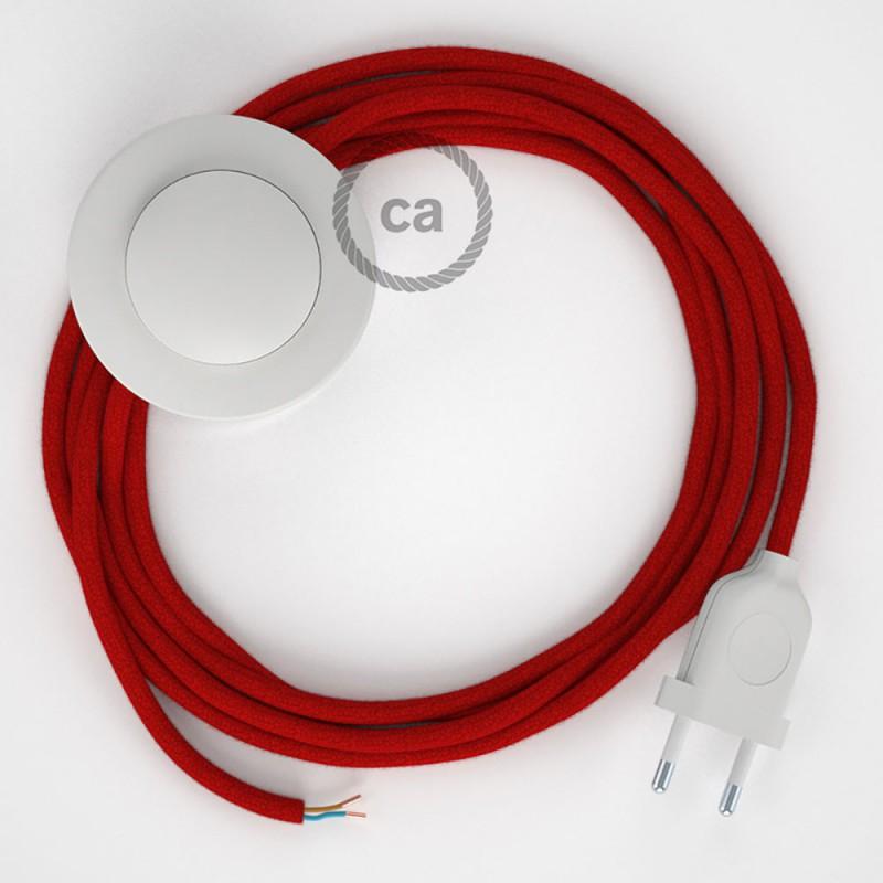 Napájací kábel pre podlahovú lampu, RC35 Ohnivo - červený bavlnený 3 m. Vyberte si farbu zástrčky a vypínača.
