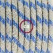 Napájací kábel pre podlahovú lampu, RD55 Prúžkovaný modrý bavlneno - ľanový 3 m. Vyberte si farbu zástrčky a vypínača.