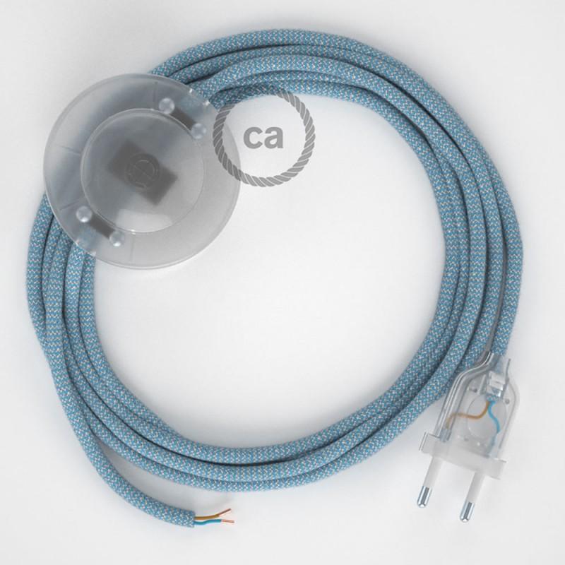 Napájací kábel pre podlahovú lampu, RD75 Cik - cak modrý bavlneno - ľanový 3 m. Vyberte si farbu zástrčky a vypínača.
