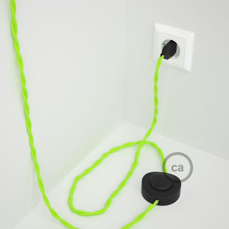 Napájací kábel pre podlahovú lampu, TF10 Fluo žltý hodvábny 3 m. Vyberte si farbu zástrčky a vypínača.