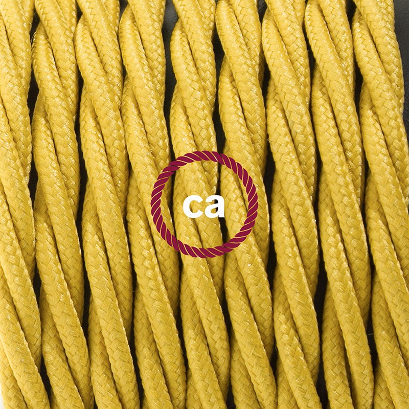 Napájací kábel pre podlahovú lampu, TM25 Horčicový hodvábny 3 m. Vyberte si farbu zástrčky a vypínača.