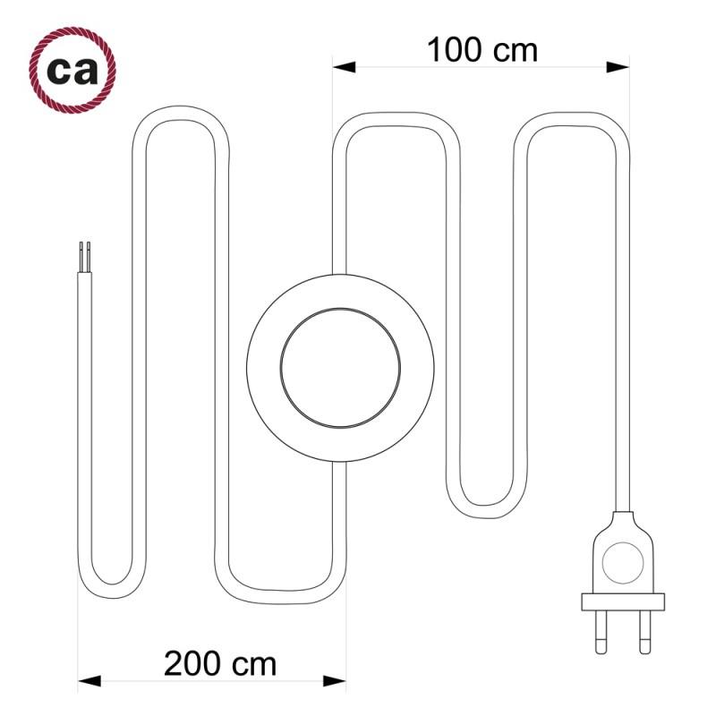 Napájací kábel pre podlahovú lampu, TM26 Tmavo šedý hodvábny 3 m. Vyberte si farbu zástrčky a vypínača.