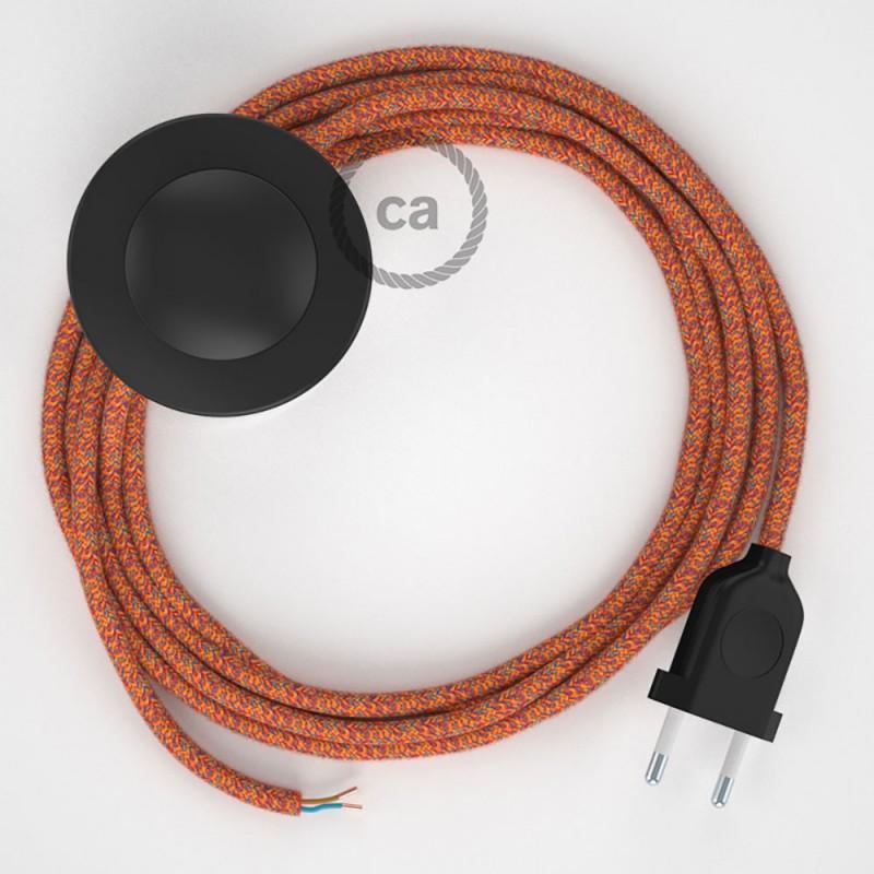 Napájací kábel pre podlahovú lampu, RX07 Indian Summer bavlnený 3 m. Vyberte si farbu zástrčky a vypínača.