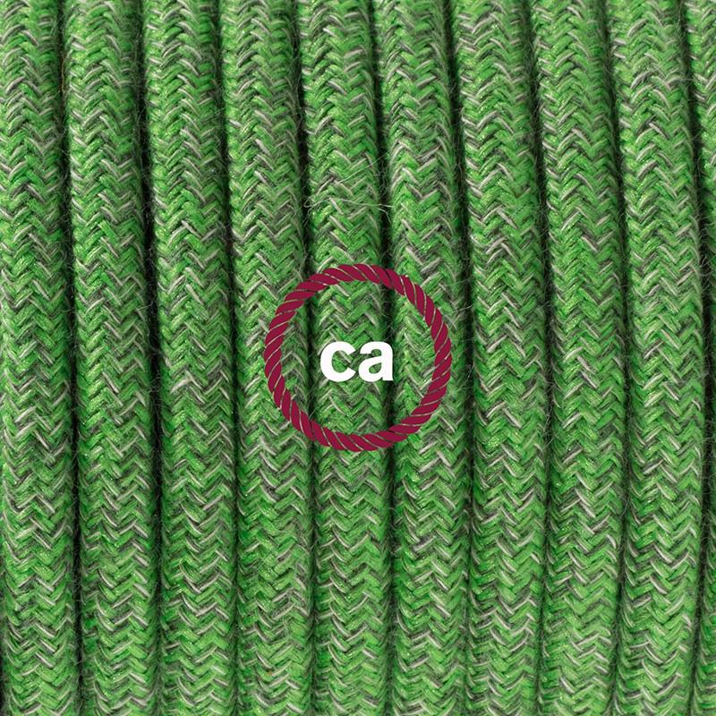 Napájací kábel pre podlahovú lampu, RX08 Zelený mixovaný bavlnený 3 m. Vyberte si farbu zástrčky a vypínača.