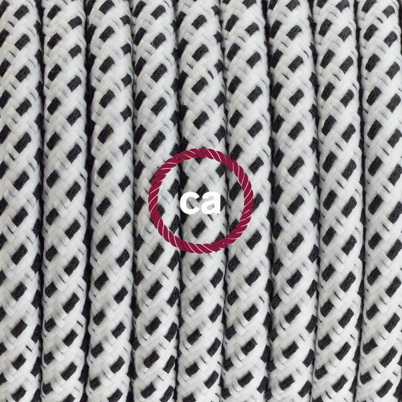 Napájací kábel pre podlahovú lampu, RT14 Stracciatella hodvábny 3 m. Vyberte si farbu zástrčky a vypínača.