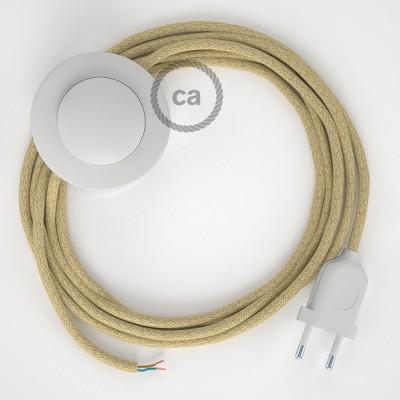 Napájací kábel pre podlahovú lampu, RN06  jutový 3 m. Vyberte si farbu zástrčky a vypínača.