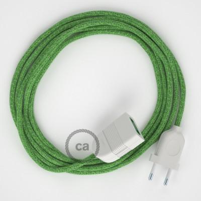 Zelený mixovaný bavlnený RX08 2P 10A textilný predlžovací elektrický kábel. Vyrobený v Taliansku.