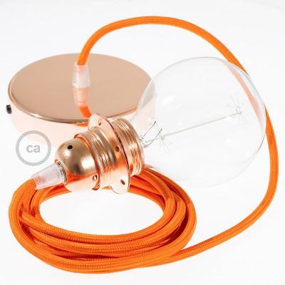 Závesná lampa pre tienidlo s okrúhlym textilným káblom - hodváb - oranžová RM15