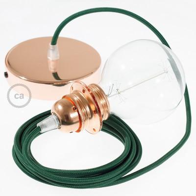 Závesná lampa pre tienidlo s okrúhlym textilným káblom - hodváb - tmavo zelená RM21