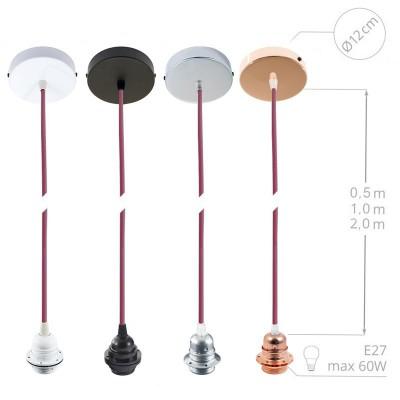 Závesná lampa pre tienidlo s okrúhlym textilným káblom - hodváb - strieborná RM02