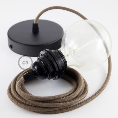 Závesná lampa pre tienidlo s okrúhlym textilným káblom - bavlna - hnedá RC13