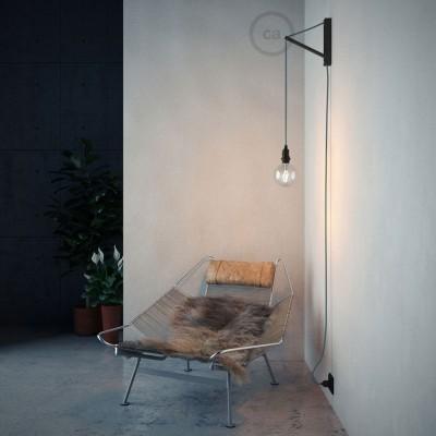 Pinocchio, čierny prispôsobiteľný drevený držiak na závesnú lampu.