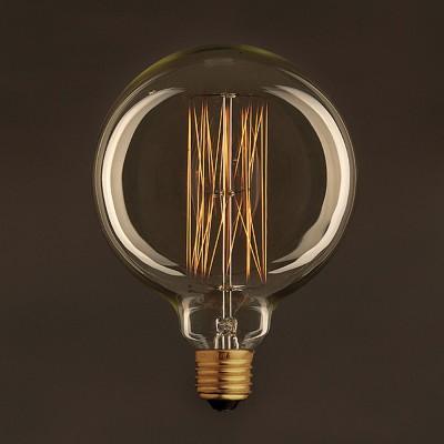 Zlatá vintage glóbusová žiarovka G125 so zvislým uhlíkovým vláknom 25W E27 Stmievateľná 2000K