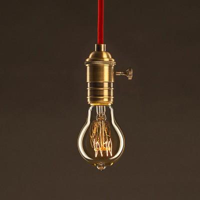 Zlatá vintage žiarovka A60 Kvapka so špirálovým uhlíkovým vláknom 25W E27 Stmievateľná 2000K