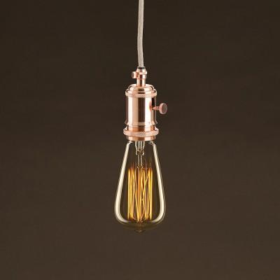Zlatá vintage žiarovka ST64 Edison s vertikálnym uhlíkovým vláknom 25W E27 Stmievateľná 2000K