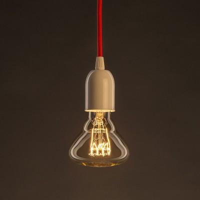 Zlatá vintage žiarovka BR95 s horizontálnym špirálovým uhlíkovým vláknom 25W E27 Stmievateľná 2000K
