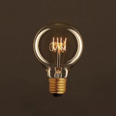 Zlatá vintage žiarovka G80 Glóbus s horizontálnym špirálovým uhlíkovým vláknom 25W E27 Stmievateľná 2000K