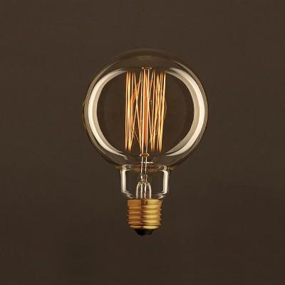 Zlatá vintage žiarovka G95 Glóbus s vertikálnym uhlíkovým vláknom 25W E27 Stmievateľná 2000K