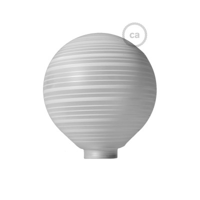 Biela sklenená banka pre modulárnu dekoratívnu žiarovku G125 s horizontálnymi pruhmi