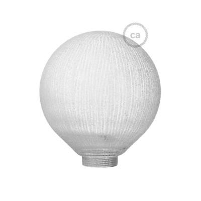 Biela sklenená banka pre modulárnu dekoratívnu žiarovku G125 s vertikálnymi pruhmi
