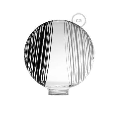 Biela sklenená banka pre modulárnu dekoratívnu žiarovku G125 s čierno - bielymi kruhmi