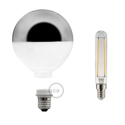 Modulárna LED žiarovka a banka so striebornou polguľou 5W E27 Stmievateľná 2700K