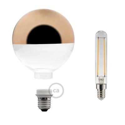Modulárna LED žiarovka a banka s medenou polguľou 5W E27 Stmievateľná 2700K