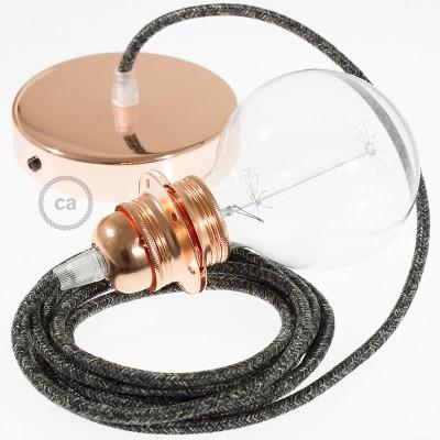 Závesná lampa pre tienidlo s okrúhlym textilným káblom - ľan - prírodná antracitová farba RN03