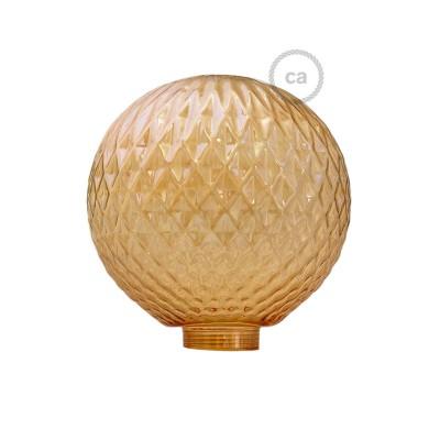 Dymová sklenená banka pre modulárnu dekoratívnu žiarovku G125 s pyramídovým vzorom