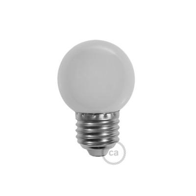 Dekoratívna G45 Miniglóbusová LED žiarovka 1W E27 2700K - mliečna
