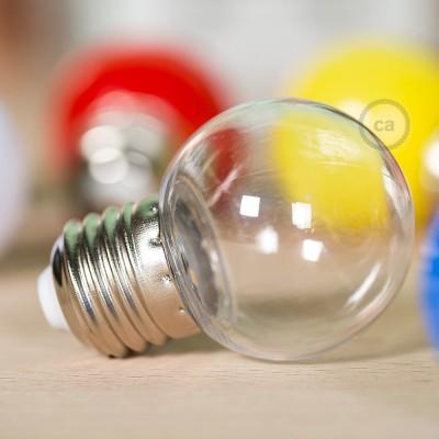 Dekoratívna G45 Miniglóbusová LED žiarovka 1W E27 2700K - transparentná
