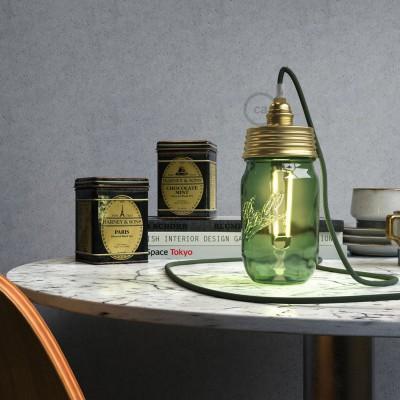 Mosadzná zostava na lampu zo zaváraninového pohára s E14 mosadznou kovovou objímkou a obyčajnou káblovou svorkou