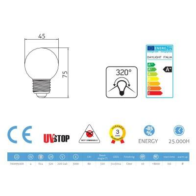LED žiarovka Sphere 4W E14 3000K Priehľadná