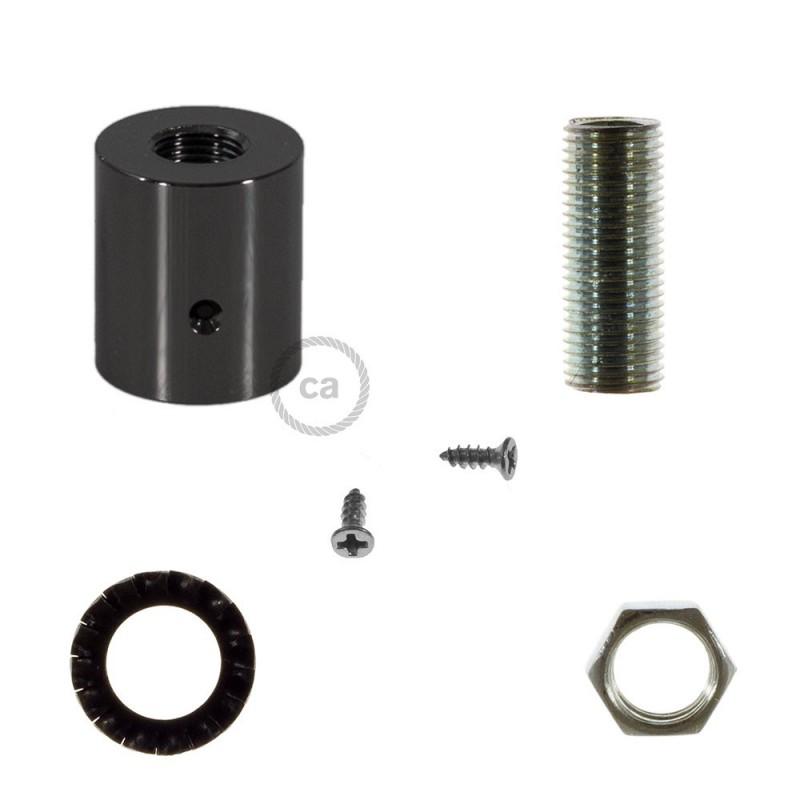 Čierna perleťová kovová koncovka pre 16 mm trubice Creative-Tube, s príslušenstvom