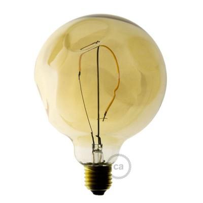 Zlatá LED žiarovka - Glóbus G125 s jedným vláknom s nepravidelnou bankou – 2.5W E27 Dekoratívna vintage 2000K
