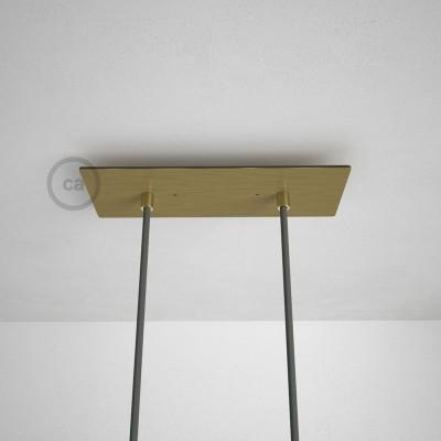 Obdĺžniková 30x12 cm XXL stropná rozeta lesklej mosadznej farby s 2 otvormi + Súčiastkami