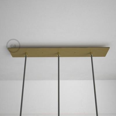 Obdĺžniková 60x12 cm XXL stropná rozeta lesklej mosadznej farby s 3 otvormi + Súčiastkami