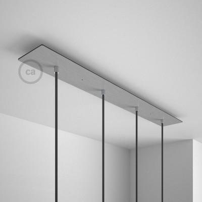 Obdĺžniková 90x12 cm XXL stropná rozeta lesklej oceľovej farby so 4 otvormi + Súčiastkami