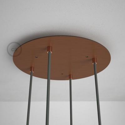 Okrúhla 35 cm XXL stropná rozeta lesklej medenej farby so 4 otvormi + súčiastkami