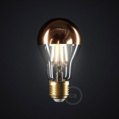 LED žiarovka s medenou polguľou - Kvapka A60 - 7W E27 Stmievateľná 2700K
