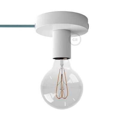 Spostaluce, biele kovové svietidlo s textilným káblom a postrannými otvormi