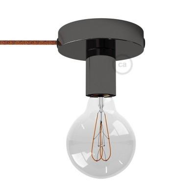 Spostaluce, čierne perleťové kovové svietidlo s textilným káblom a postrannými otvormi