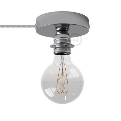 Spostaluce, chrómované kovové svietidlo s E27 objímkou so závitom, textilným káblom a postrannými otvormi
