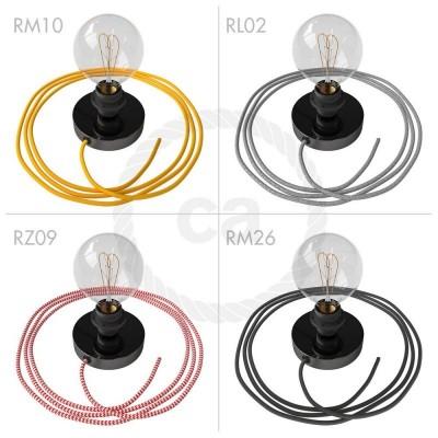 Spostaluce, čierne perleťové kovové svietidlo s E27 objímkou so závitom, textilným káblom a postrannými otvormi