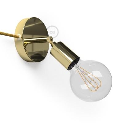 Spostaluce Metallo 90°, mosadzné nastaviteľné kovové svietidlo s textilným káblom a postrannými otvormi