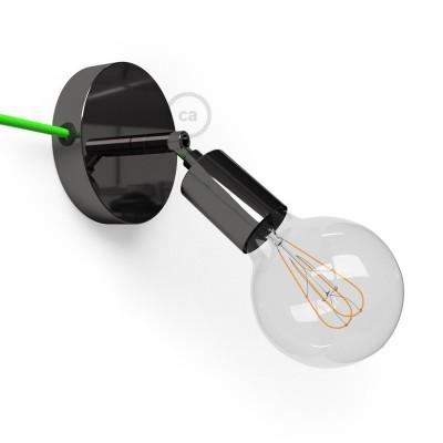 Spostaluce Metallo 90°, čierne perleťové nastaviteľné kovové svietidlo s textilným káblom a postrannými otvormi