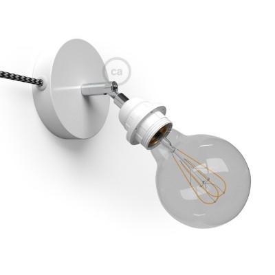 Spostaluce Metallo 90°, biele nastaviteľné svietidlo s E27 objímkou so závitom, textilným káblom a postrannými otvormi